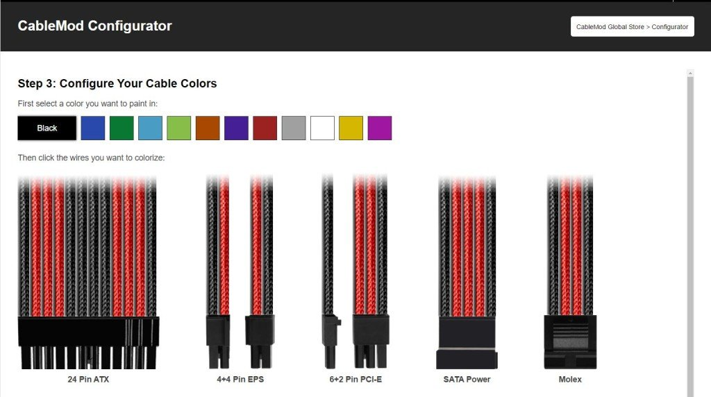 After defining their cable kit, users can also choose from a number of ...