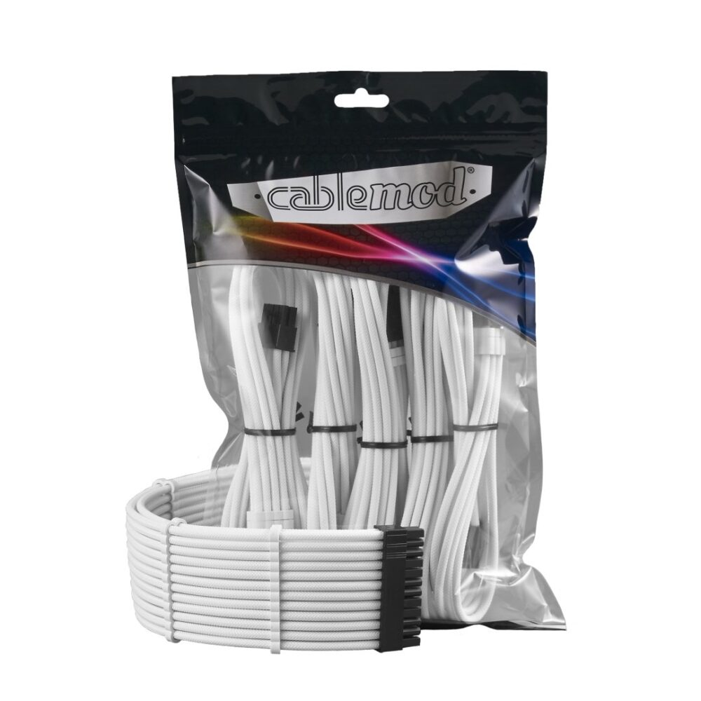 White and Black Custom Sleeved PC Extensions Cable Basic Kit PSU Power